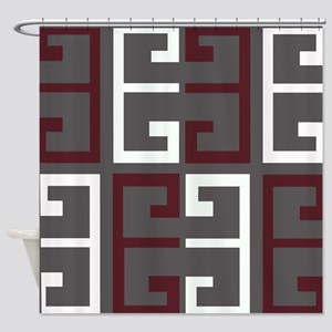 Charcoal and Maroon Tile Shower Curtain