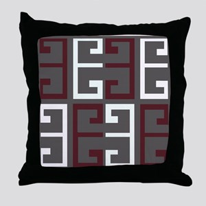 Charcoal and Maroon Tile Throw Pillow