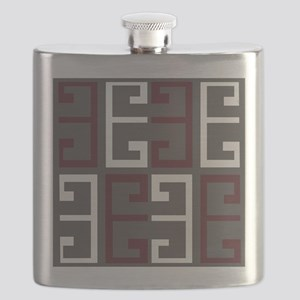 Charcoal and Maroon Tile Flask