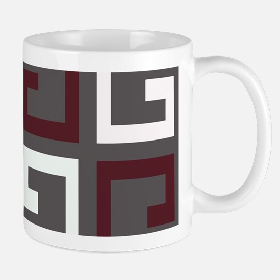 Charcoal and Maroon Tile Mugs