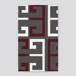 Charcoal and Maroon Tile Area Rug