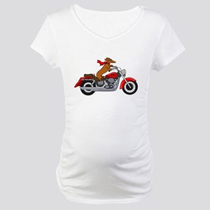 Dachshund on Motorcycle Maternity T-Shirt
