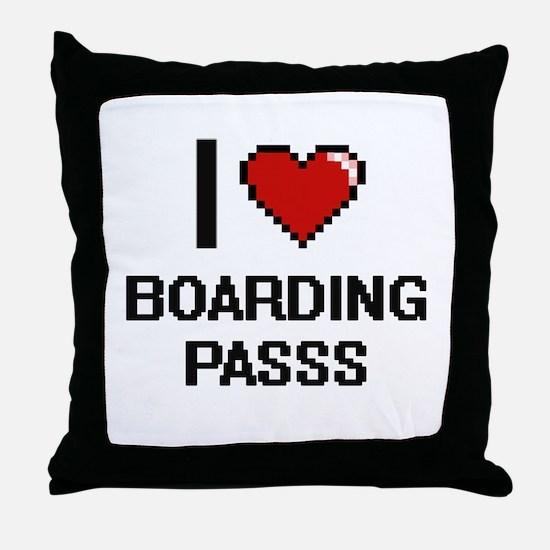 I Love Boarding Passs Digitial Design Throw Pillow