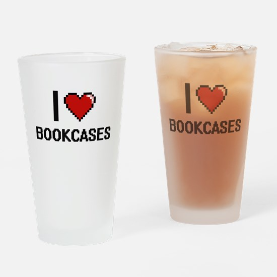 I Love Bookcases Digitial Design Drinking Glass