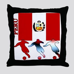 Peru Soccer Throw Pillow