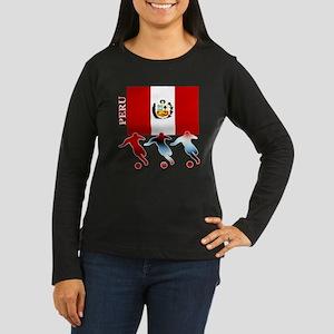 Peru Soccer Women's Long Sleeve Dark T-Shirt