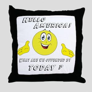 Hello America Sarcastic Smiley  Throw Pillow