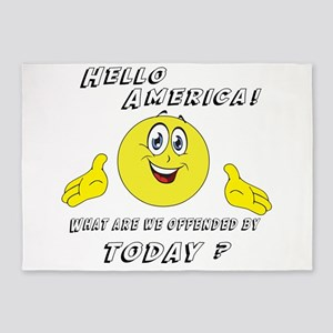 Hello America Sarcastic Smiley 5'x7'Area Rug