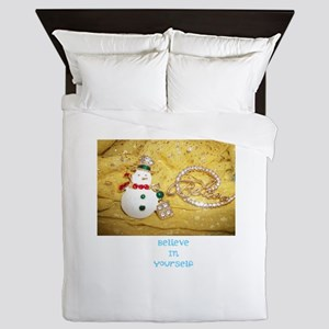 Believe In Yourself Snowman. Queen Duvet