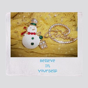 BELIEVE IN YOURSELF SNOWMAN. Throw Blanket