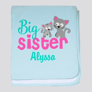 Big sister kitty personalized baby blanket