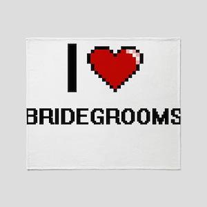 I Love Bridegrooms Digitial Design Throw Blanket