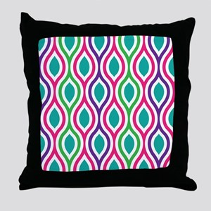 Ogee Retro Bright Colors Throw Pillow