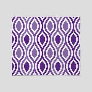Ogee Pattern Purple Throw Blanket