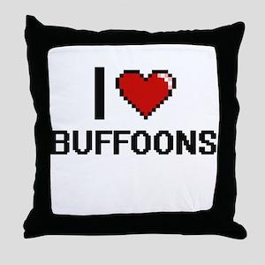 I Love Buffoons Digitial Design Throw Pillow