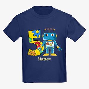 5th Birthday Robot Custom Kids Dark T-Shirt