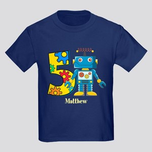 5th Birthday Robot Custom Kids Dark T-Shirt