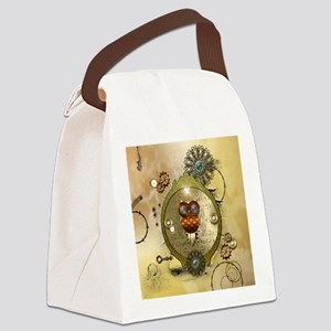 Steampunk, cute owl Canvas Lunch Bag