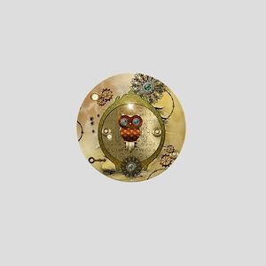 Steampunk, cute owl Mini Button