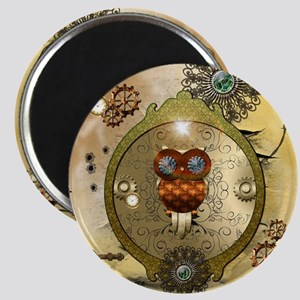 Steampunk, cute owl Magnets