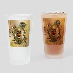 Steampunk, cute owl Drinking Glass
