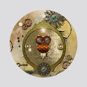 Steampunk, cute owl Ornament (Round)