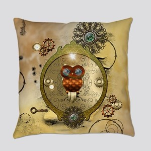Steampunk, cute owl Everyday Pillow