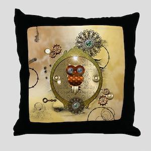 Steampunk, cute owl Throw Pillow