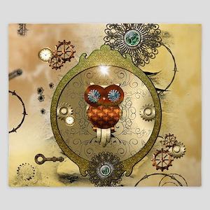 Steampunk, cute owl King Duvet