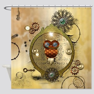Steampunk, cute owl Shower Curtain