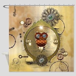 Steampunk Cute Owl Shower Curtain