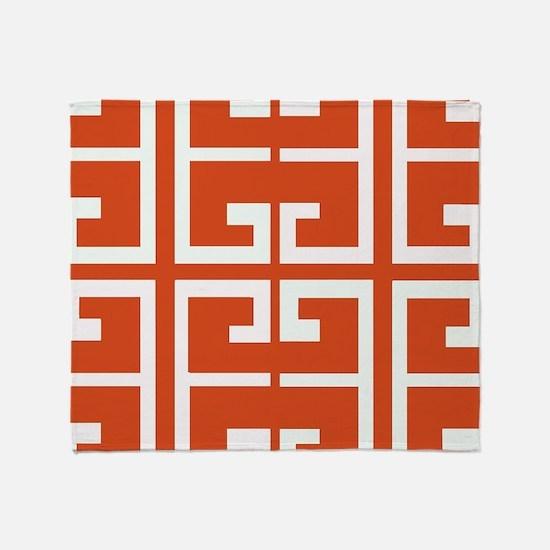 Dark Orange Tile Throw Blanket