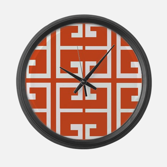 Dark Orange Tile Large Wall Clock