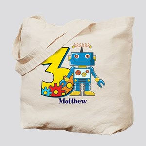 3rd Birthday Robot Custom Tote Bag