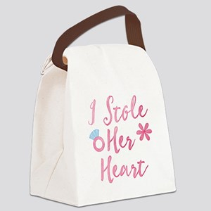 I stole her heart in pink Canvas Lunch Bag