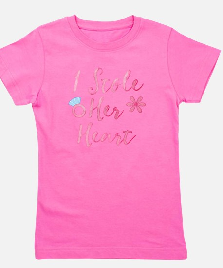 I stole her heart in pink Girl's Tee