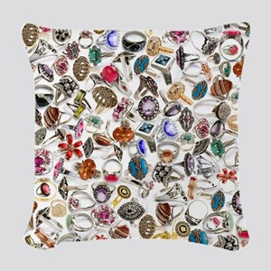 jewelry rings Woven Throw Pillow