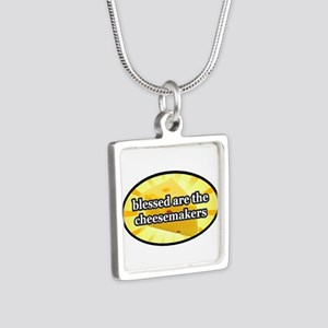 BLESSED ARE THE CHEESEMAKE Silver Square Necklace