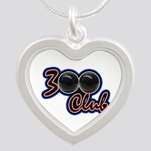300 CLUB - PERFECT GAME SCOR Silver Heart Necklace