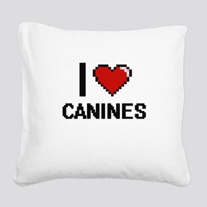 I love Canines Digitial Desig Square Canvas Pillow