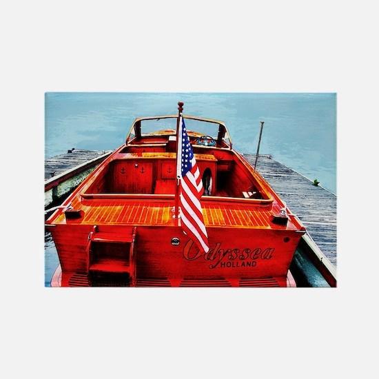 Wooden Motorboat Rectangle Magnet
