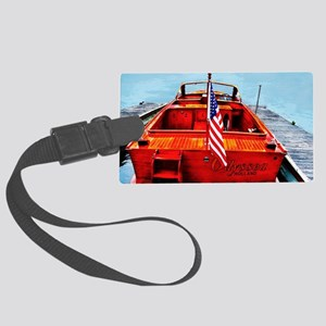 Wooden Motorboat Large Luggage Tag