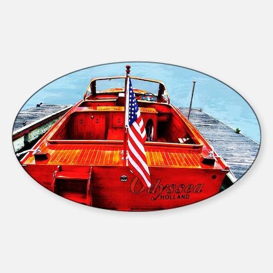 Wooden Motorboat Sticker (Oval)