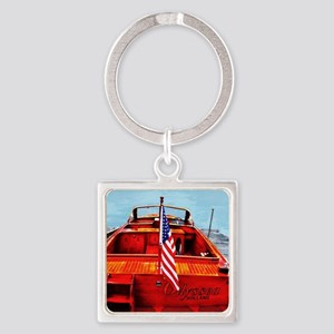 Wooden Motorboat Square Keychain