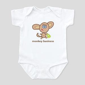 """""""monkey business"""" (girl) Infant Bodysuit"""