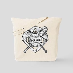 Personalized Ball Bats Diamond Tote Bag
