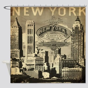 Vintage USA New York Shower Curtain