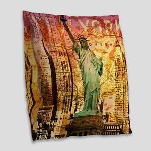 cool statue of liberty Burlap Throw Pillow