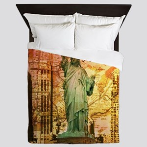 cool statue of liberty Queen Duvet