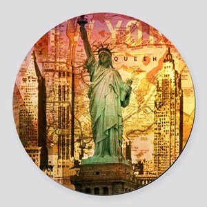 cool statue of liberty Round Car Magnet